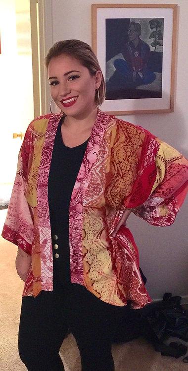 Lace print kimono jacket