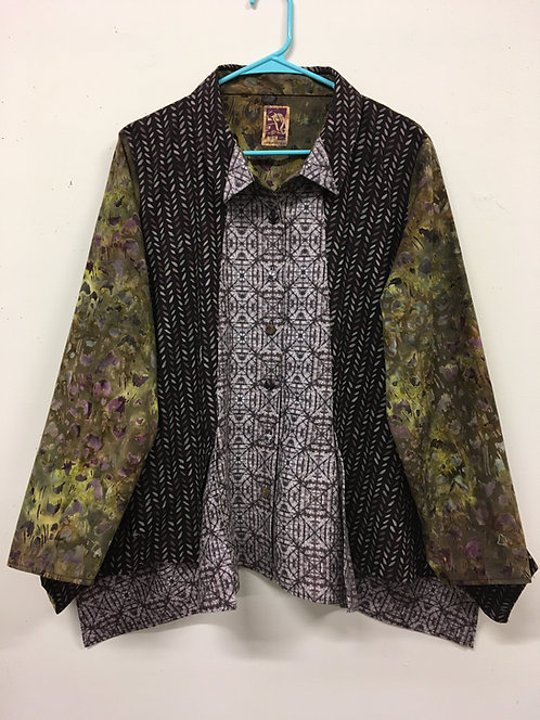Tri-fabric flaired blouse