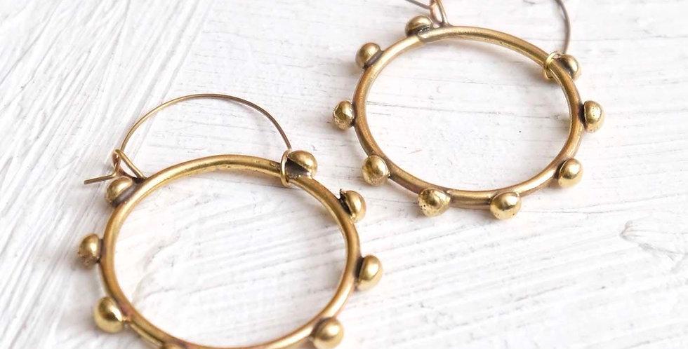 Handmade Hebba Brass Hoop Earrings