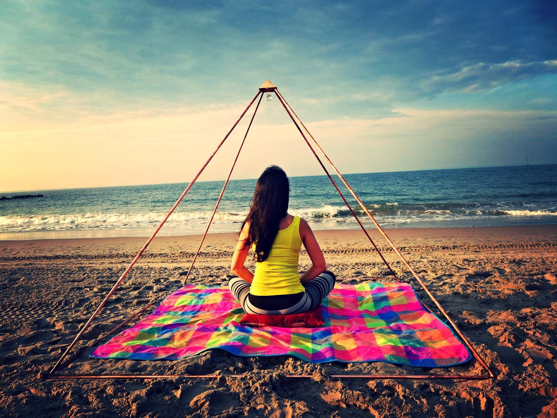 Pyramid Meditation on Beach