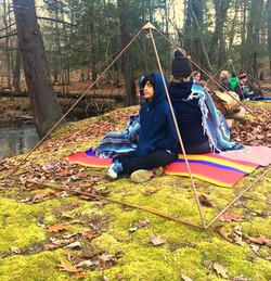 Outdoors Meditation inside Pyramid