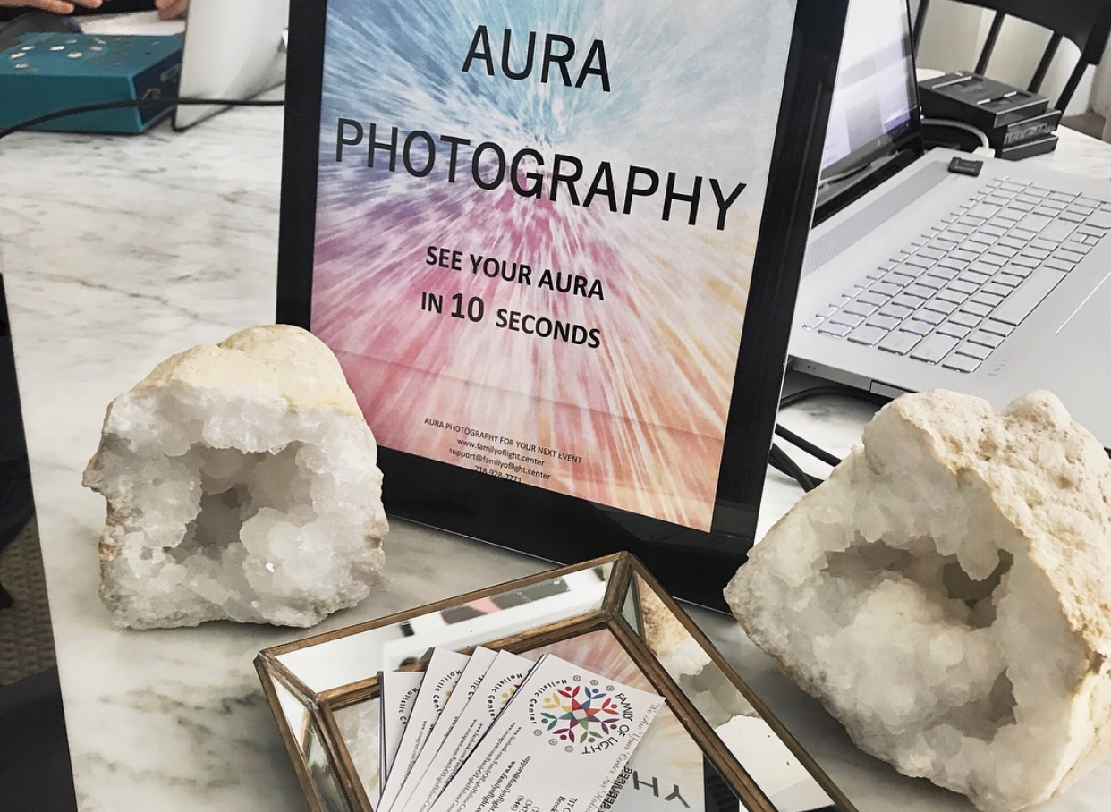 Aura Photography setup with crystals
