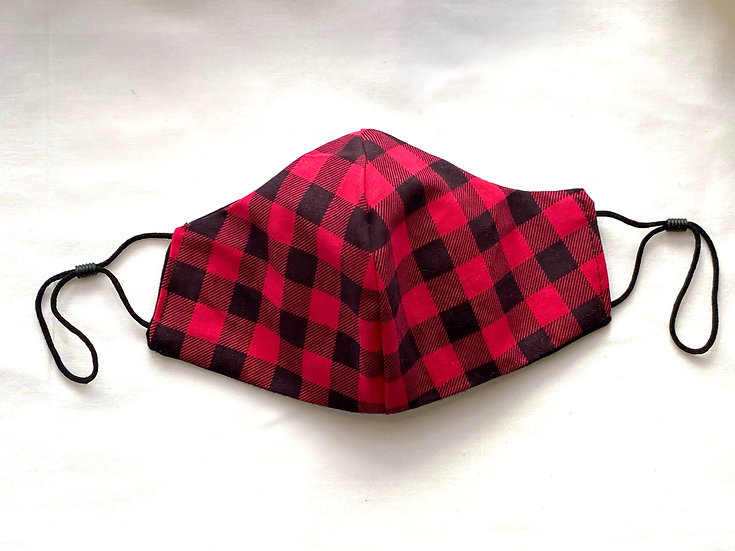 Red & Black Plaid  Face Mask