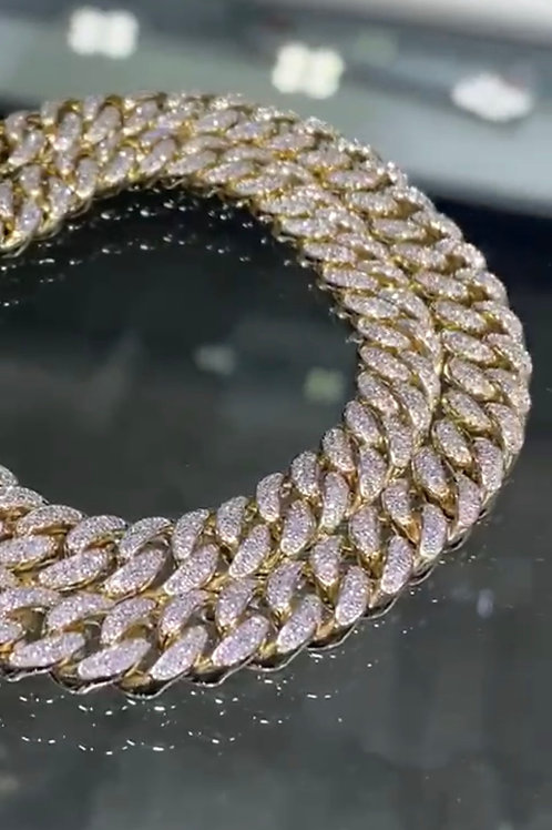 20in, 5 ct white diamonds, 76.59 grams 14k-18k Iced Out Cubans
