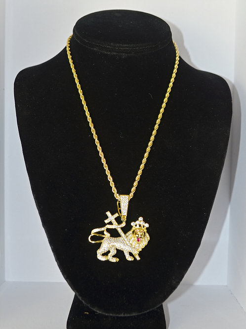 Lion of Jah Charm 925 Sterling 14k Dipped