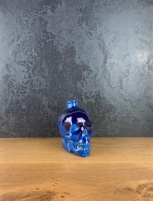 Teschio Essenziale Verdeazzurroblu- smaltata con polvere di lava e vetro