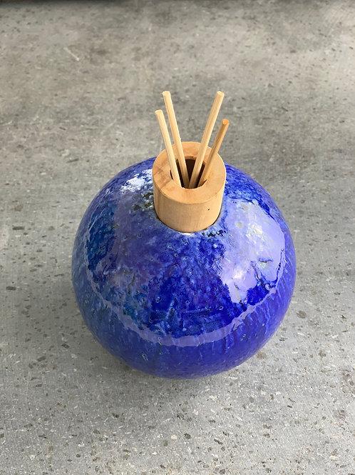 Bollaessenziale Canaletto Blu - smaltata con polvere di lava e vetro