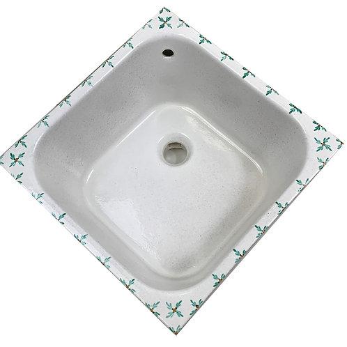 Lavabo Cucina incasso 40x40 bianco sale e pepe decoro timo verde