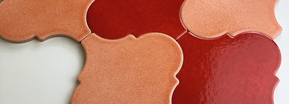 Arabesco A436 Rosa Pesco e A415 Rosso Selenio