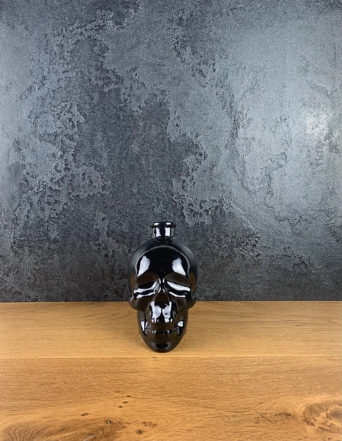 Teschio Essenziale Nero Avventurina- smaltata con polvere di lava e vetr