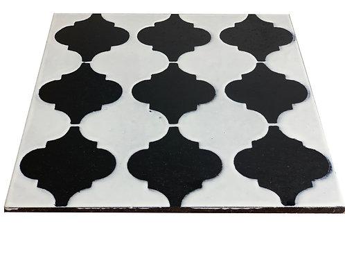 30x30 Lavastone Arabesco bianco nero 1