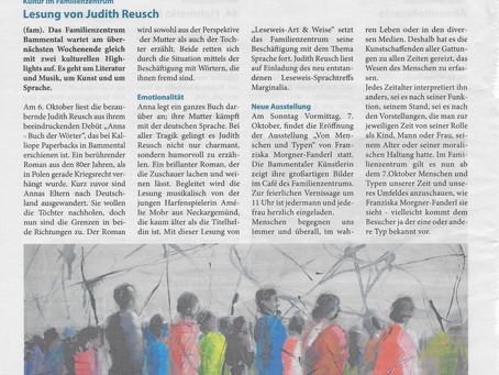 Lesung Judith Reusch in Bammental am Samstag, 6. Oktober um 19:30 Uhr Eintritt frei