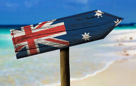 Australia flag wooden sign with a beach