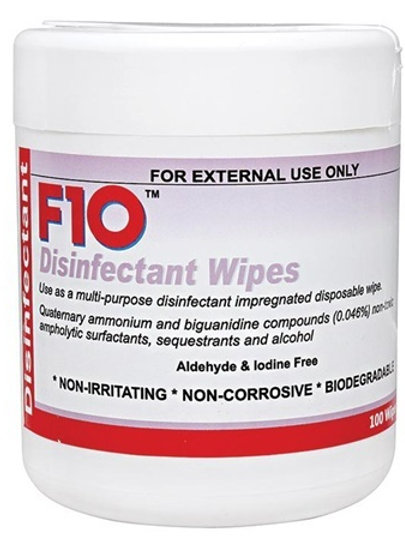 F10 Veterinary Disinfectant Wipes - 100 Pack