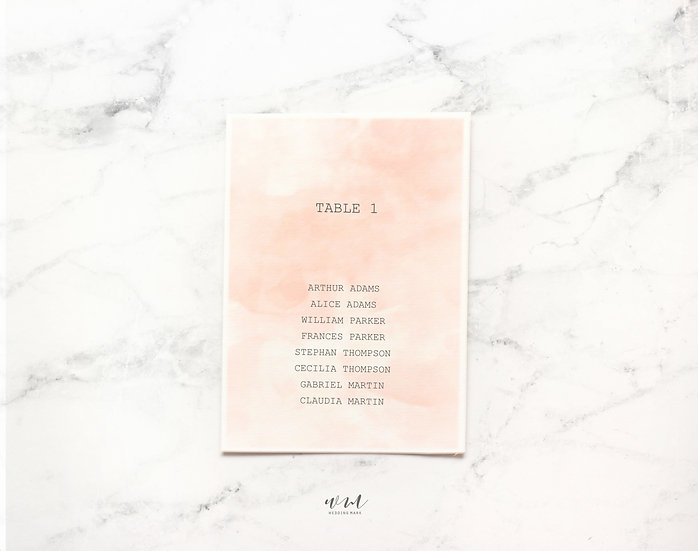 TABLE PLAN / WATERCOLOR PEACH