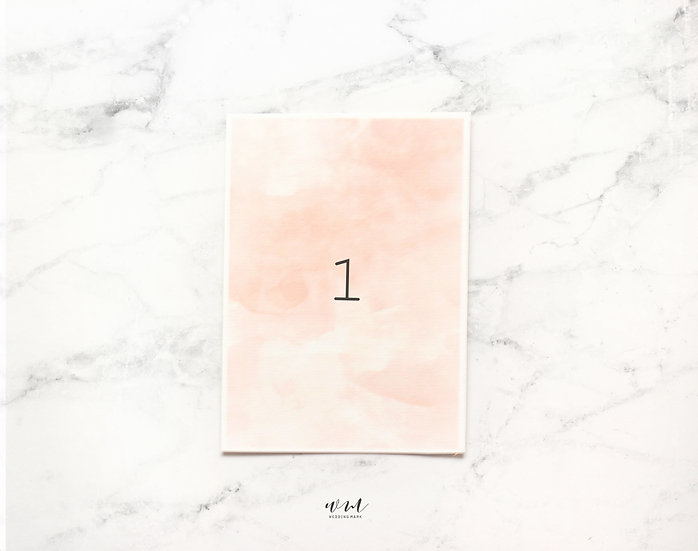 TABLE NUMBER / WATERCOLOR PEACH