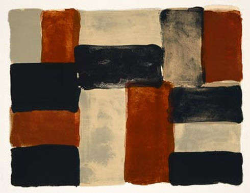 Sean Scully, artist, Red Wall, signed lithograph for sale