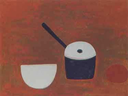 William Scott, artist, White bowl, black pan, lithograph for sale