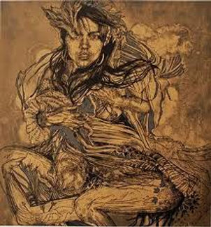 Swoon, artist, Monica, screenprint embellished with silver, for sale
