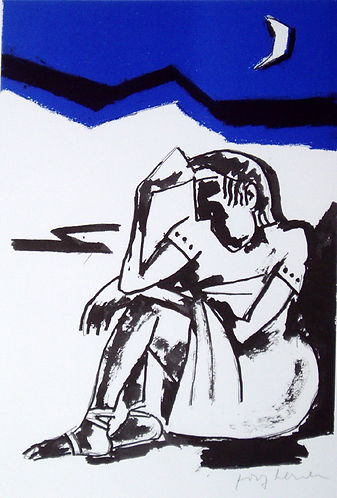 Josef Herman, Seated woman, screenprint for sale