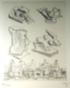 Henry Moore, sculptor, preparatory drawings, signed lithograph for sale