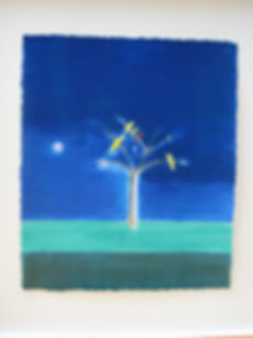 Craigie Aitchison, Birds on Blue, screenprint, for sale