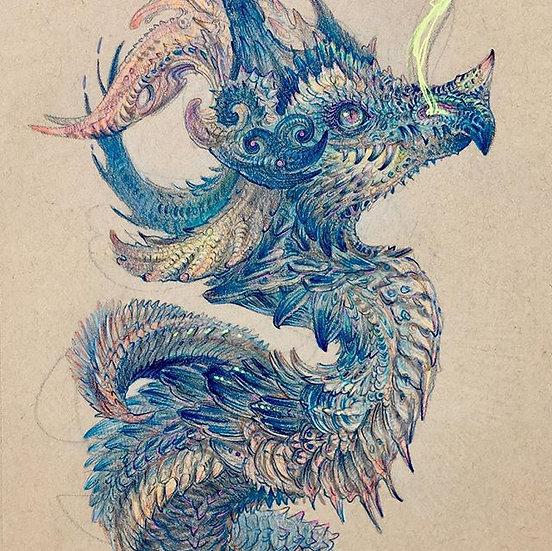 ORIGINAL ~ Crowned Prince Sapphire Dragon