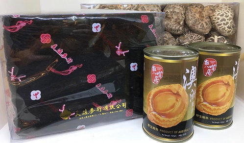 新春賀年發財禮盒 B -澳洲野生三頭鮑魚(兩罐)特級髮菜及靚花菇