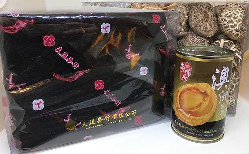 新春賀年發財禮盒 A -澳洲野生三頭鮑魚(一罐)特級髮菜及靚花菇