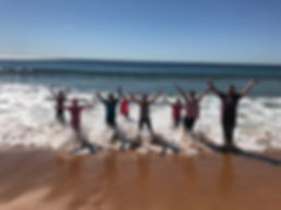 Girls in the ocean at the Mother & Daughter retreat