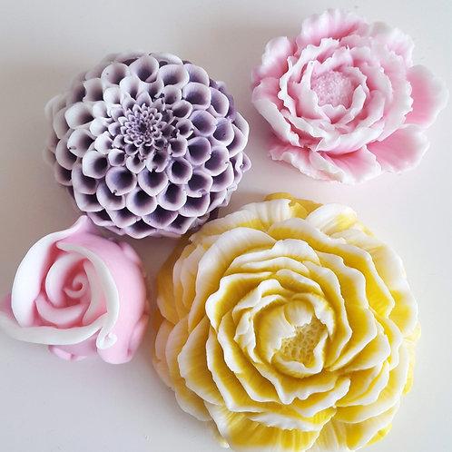 4 zeepjes bloemen