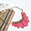 Thumbnail: Gorgeous Bright Pink and Gold Statement Necklace