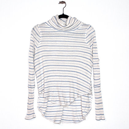 Free People Cowl Neck Blue Striped Sweater XSmall
