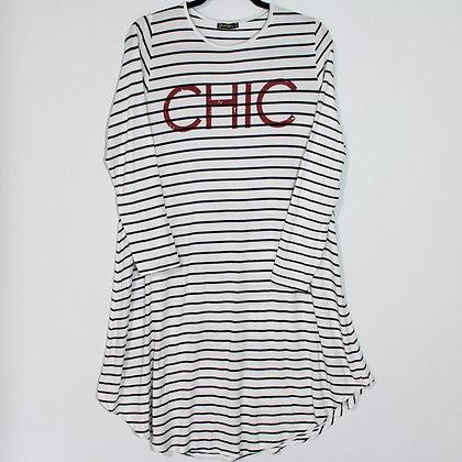 CHIC Stripe Midi Dress Jersey Size Large