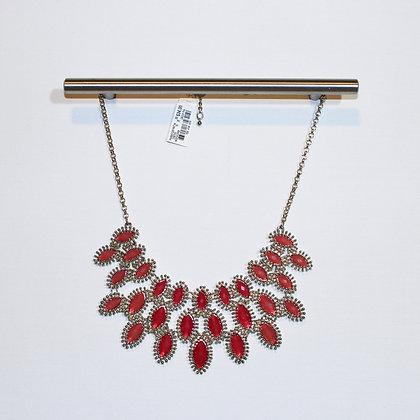 Pinkish Red Gold Fashion Statement Necklace