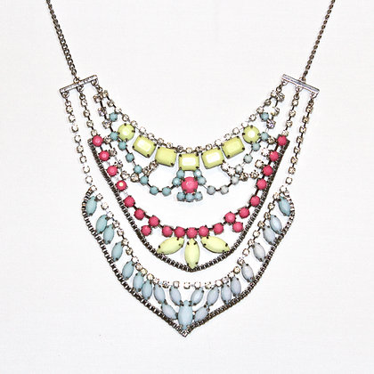 Glam 3-layer Pastel and Silver Necklace