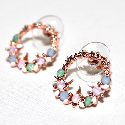 Gold CZ Pastel Summer Stud Earrings NWT