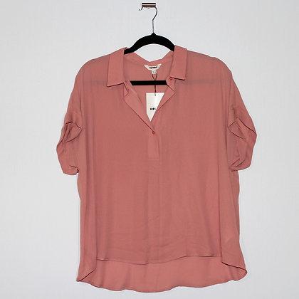 KOTON Pink V-Neck Short Sleeve Blouse Large