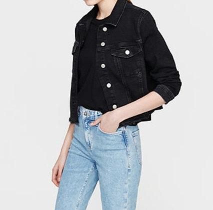 Sienna Black / Grey Jean Jacket Size Large