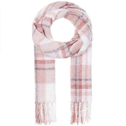 Mavi Jeans Pink Knit Plaid Scarf Wrap