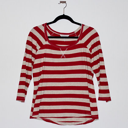 French Connection Red Striped Top Large