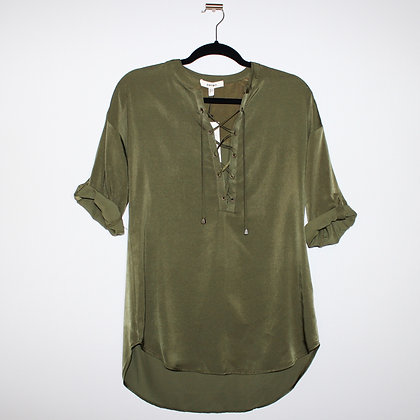 Crisscross Detail Army Green Top Size Small