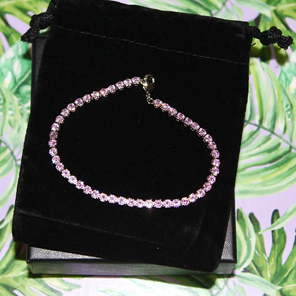 Pink CZ Tennis Bracelet Fine Silver Plate