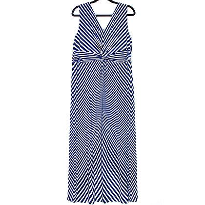 CHICOS Striped V-neck Maxi Dress