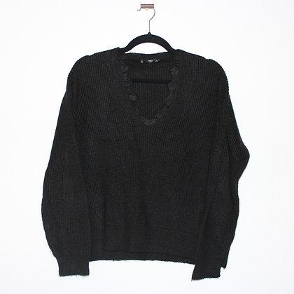 MANGO Lace Detail Black Sweater Medium