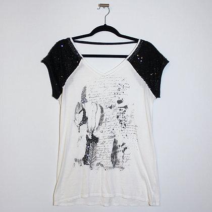 Black Sequin Sparkle T-shirt Size Medium