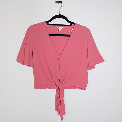 Front-tie Pink KOTON Crop Top Button Down Large