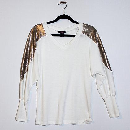 Gold Sequin Detail Sleeve Top Medium