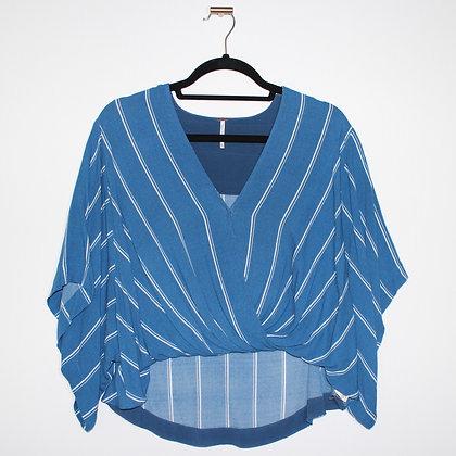 Free People Blue Striped Flowy Twist Top Small