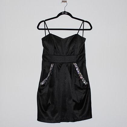 Black Jeweled Mini Dress with Pockets Junior's 7